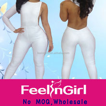 wholesale clearance white long sleeve bodycon sexy women jumpsuit 2014