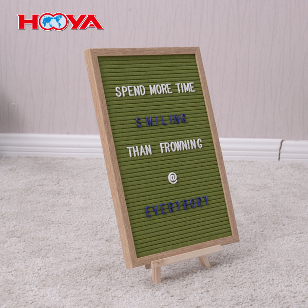 Customized Vintage Oak Wooden frame Changeable Felt Letter Board 12X18 inch with 340 letters