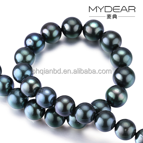 High quality pearl necklace/ 12-14mm real Tahiti black pearls with natural color