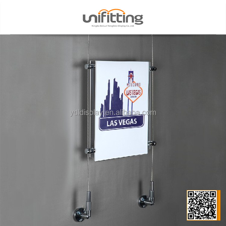 Cable Wire Suspension Advertisement A4 Acrylic Pocket Display, banner holder
