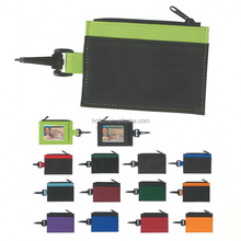 PVC zippered ID card holder ID wallet with clip