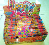 Colorful loom bands in display box