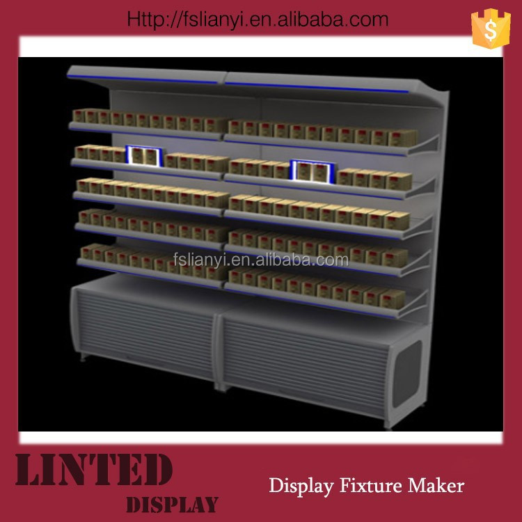 High quality shelf for cigarette shelf pusher for cigarette display with pusher