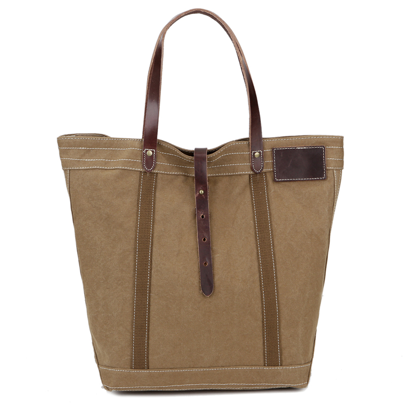 Wholesale Retro Vintage Waxed Canvas Leather Shopping Canvas Tote Bag