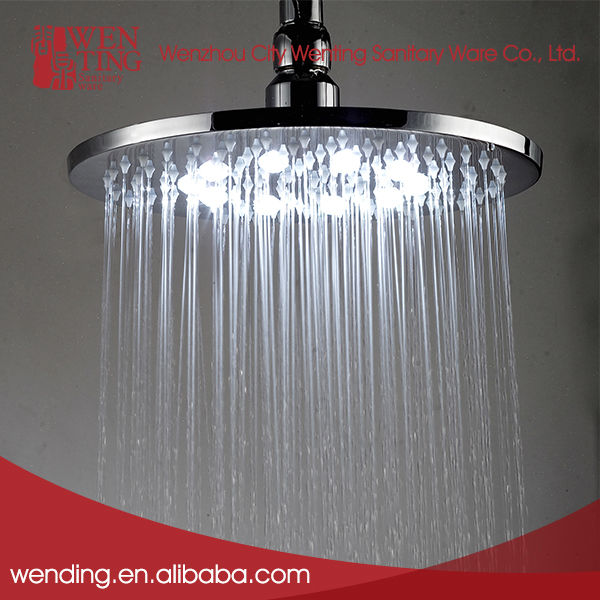 Wholesale water saving rainfall led round rain shower head. 8 inch