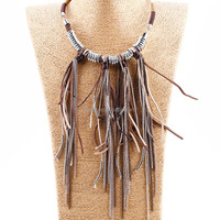 Semi precious stone tassel necklace jewelry colorful ally velvet rope tassel necklace