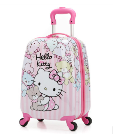 Kids cartoon travel trolley luggage with wheels
