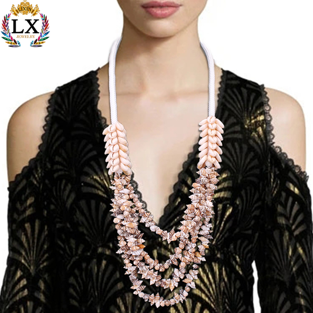 NLX-00285 new design jewelry handmade large summer beach multi seashell necklace for women