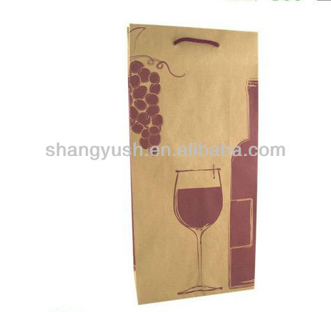 promotional paper wine bag,luxury paper shopping bag,brown kraft paper bags