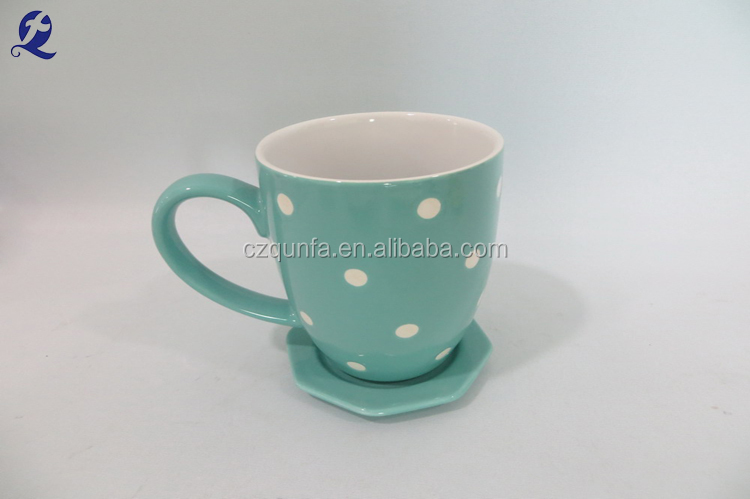 Hand painted office home use glaze ceramic tea cup and saucer