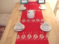 Big red paster embroidery table runner