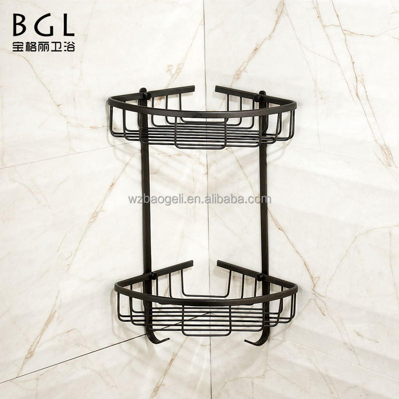 America Style Wall mounted Bath fittings ORB and Vacuum plating brass hanging corner basket for bathroom storage