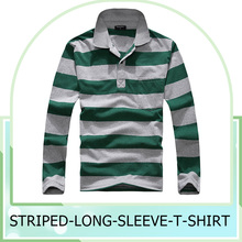 2016 Spring Autumn Fashion Mens Casual Slim Fit Striped Long Sleeve T-shirt Tee Tops Men's T-shirt lapel polo shirts