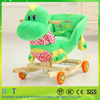 wooden large plush dinosaur wooden rocking horse toy for kids