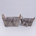 Wood chip garden basket mini flower orchid pot with handles
