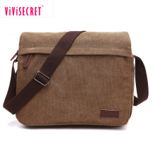 High grade canvas brown shoulder bag men cross body bag messenger satchel bag