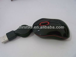 Cheap mini retractable wired mouse