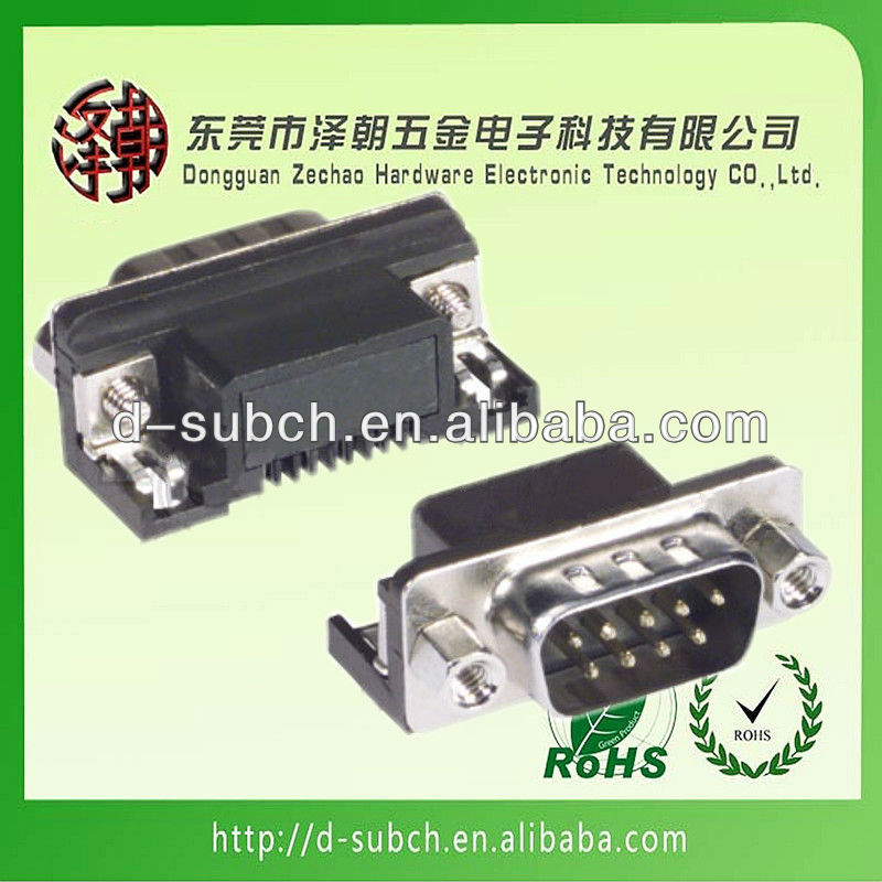 9P MALE DIP 90 degree SHORT TYPE D-SUB CONNECTOR