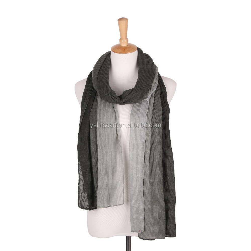 custom made wholesale two tone color plain dyed fashion lady viscose cotton polyester scarf shawl