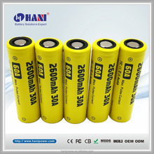 2600mAh E Cig Ecig Battery 3.7V 2600mAh 30A Max 60A Long Lasting Electronic Cigarette Battery for Vapor Box Mod Vape