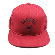 Custom Canada Red Cotton Snapback Hat Hot Sale Embroidery Logo Flat Bill Hats