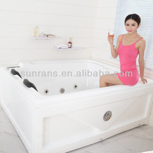 Solid surface acrylic double used bathtub for two people