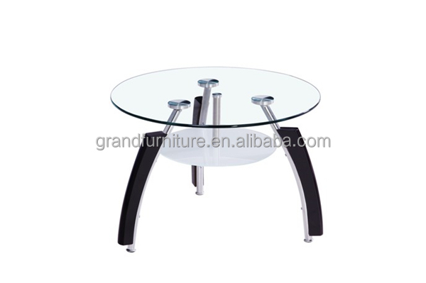 Round Small Lamp Table,Chromed Legs with Wood Decoration