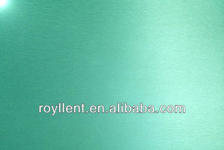 PE/PVDF coated green brushed aluminum foil roll paper for HPL and ACP