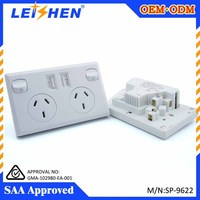 Good quality easy installation low consumption 2 gang 240v 10a usb wall socket for australia/New zealand