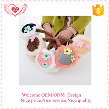 Custom winter cute lovely plush warm flower earmuffs for kids made in china