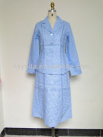 Blue Embroidery Ladies Suit Neck Design