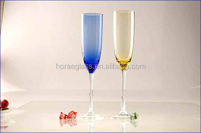 China manufacturer lead free champagne glasses brandy stemware with multi color for wedding