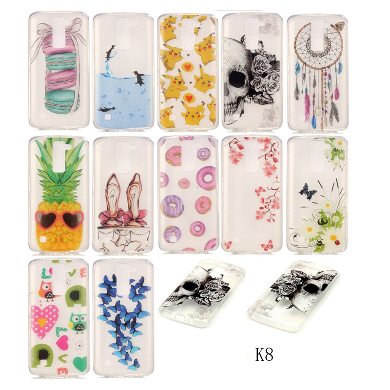 Butterfly Pattern Clear TPU Silicone Gel Back Cover Skin Soft Case For Lg k8 Mobile Phone