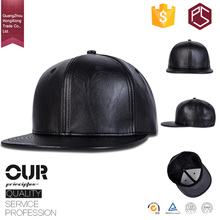 GuangZhou factory OEM high quality 6 panel custom made no logo plain black leather snapback caps