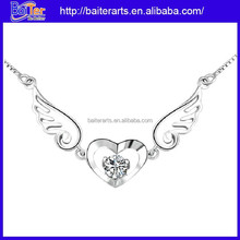 Fasion 925 sterling silver rhinestone angel wing necklace with two colors