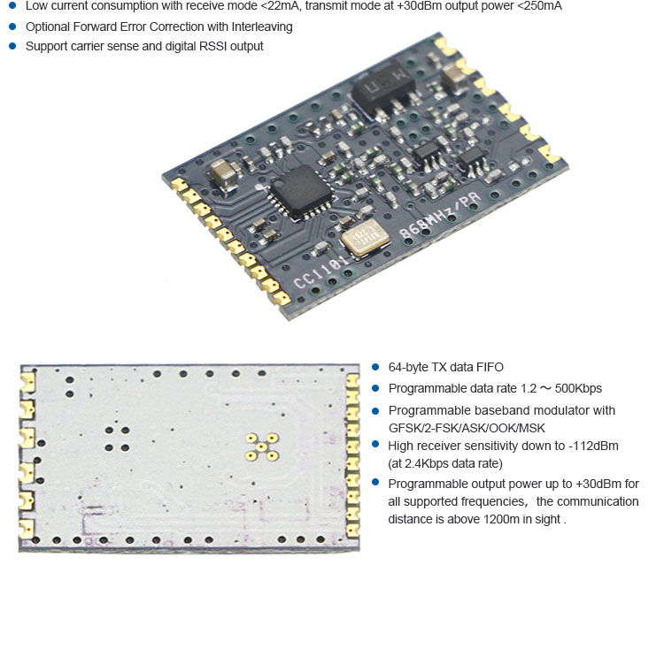 Top Grade 1200Bps-500Kbps Data Rate CC1101 433Mhz Receiver ism radio module