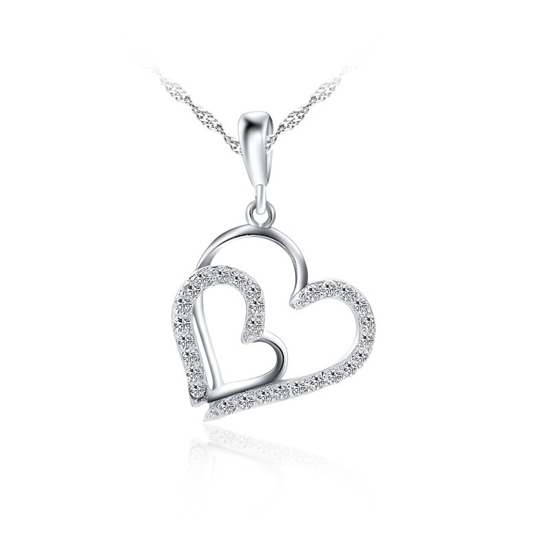 Factory direct sale fashion mini necklace 925 sterling silver romantic heart shaped