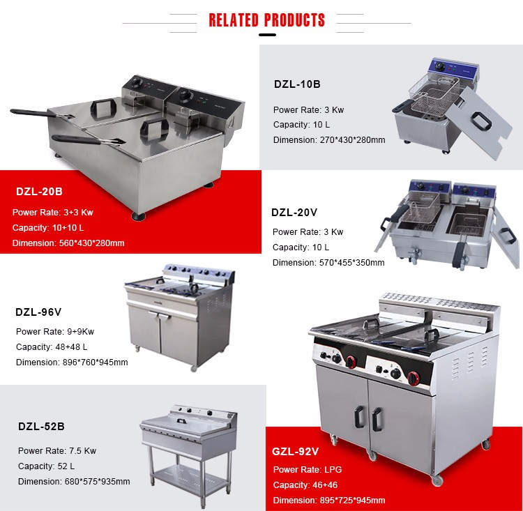 CHINZAO Zhejiang Supplier Made High Quality Double Tank Chips Deep Fryer