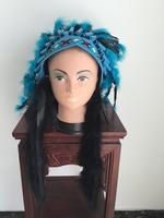 diamond flower adorned blue Indian style Feather Headdress