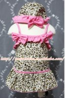 Light Pink Leopard Sweet Swimming Suit with Cap MASW46