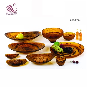China Brown Swirl Semi-See-Through Resin Fruit Bowl Set for Snack or Salad