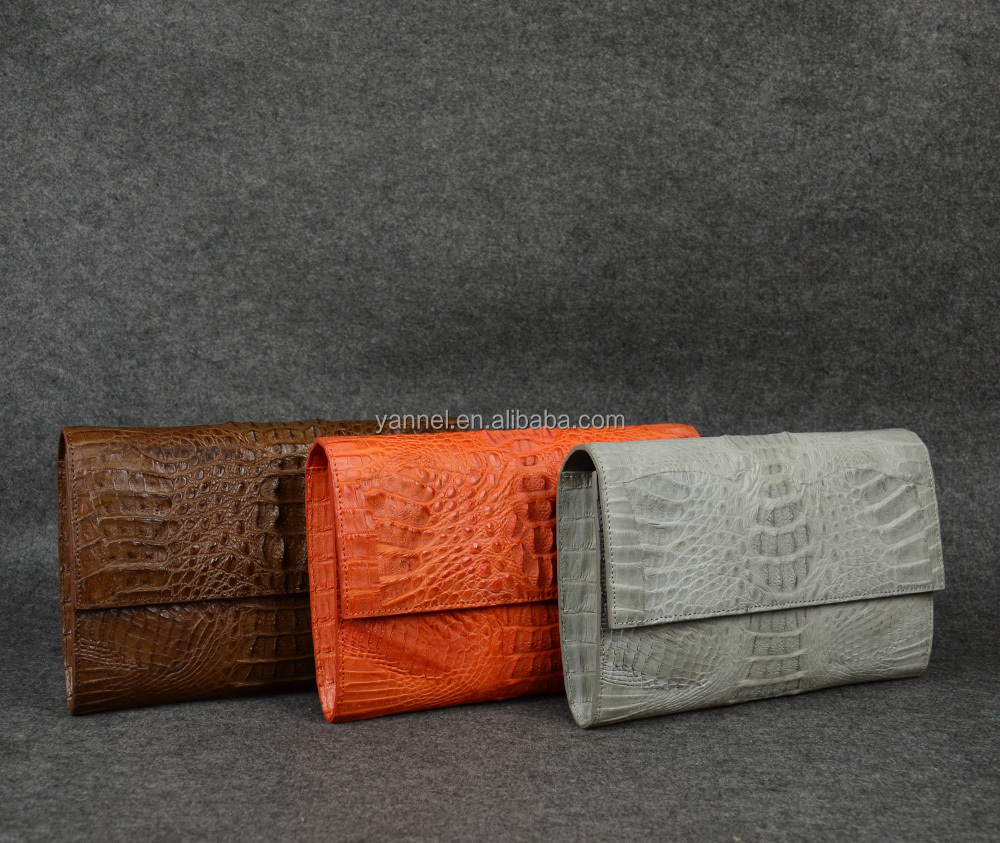 Real crocodile skin oversized women clutch bag.Orange#crocodile bag#exotic bag#luxury#UAE