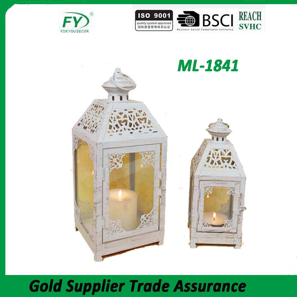 Set of 2 Chinese high quality metal white tea light lantern for house decoration