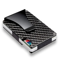2019 best sell ultra thin RFID real carbon fiber card wallet, minimalist aluminum credit card holder with money clip