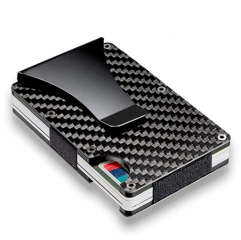 2019 best sell ultra thin RFID real carbon fiber card <strong>wallet</strong>, minimalist aluminum credit card holder with money clip