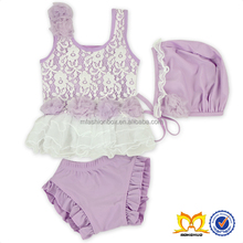 Latest Baby Girl Adorable Lace Flower Swimsuit Kids Stylish Lavender Yarn Skirt Design Swimwear Newborn Bathing Suits