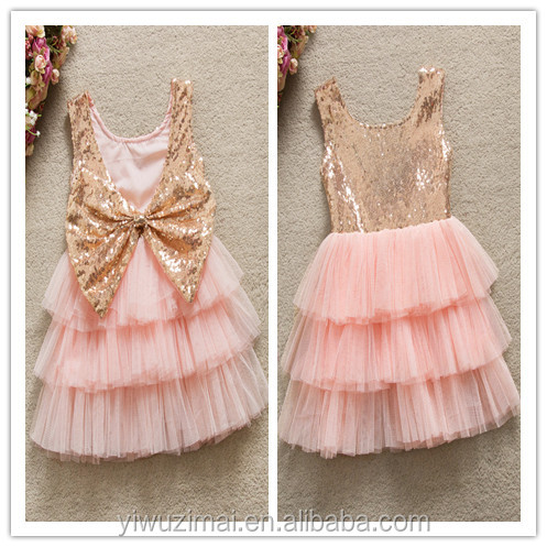 In-stock Toddler Girl Shiny Sequin Bowknot Layers Tulle TUTU Dress Baby Girls One Piece Birthday Party Princess Frocks Dresses