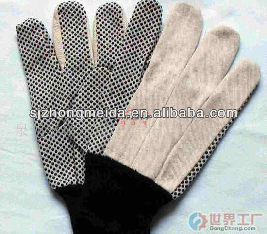 DRILL COTTON GLOVE WITH PVC DOTS, KNIT WRIST, STRAIGHT THUMB