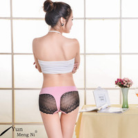 high cut bamboo fiber panties with sexy black lace sides fancy underwear women panty