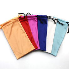 Custom glasses pouch Microfiber glasses bag Custom recycled polyester cloth small drawstring glasses pouch dust bag with logo